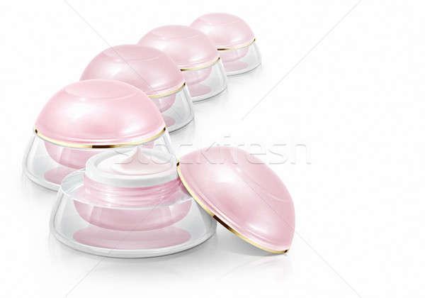 Rosa cúpula cosméticos jar blanco Foto stock © 7Crafts