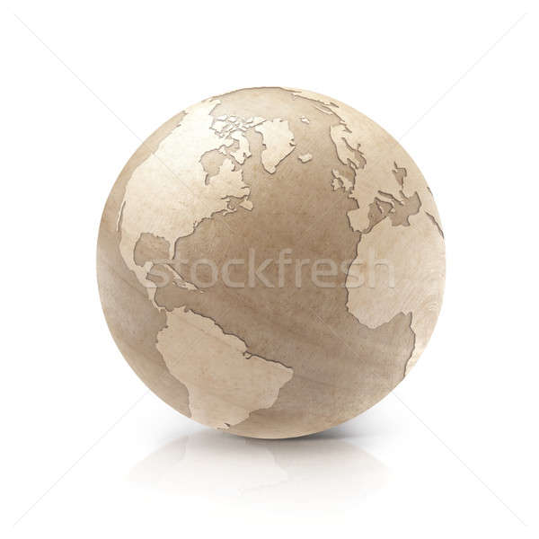 Wood globe 3D illustration North and South America map Stock photo © 7Crafts