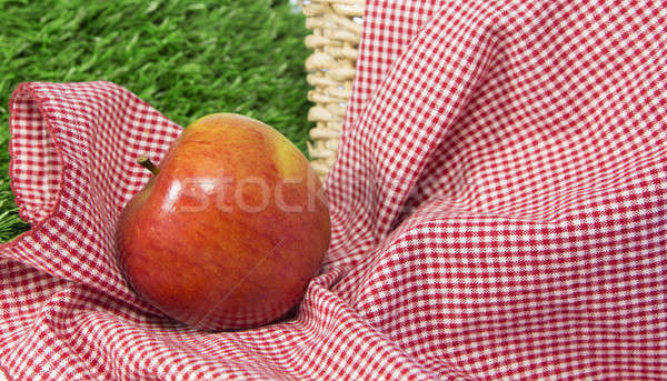Red apple in a picnic scene 1 Stock photo © 808isgreat