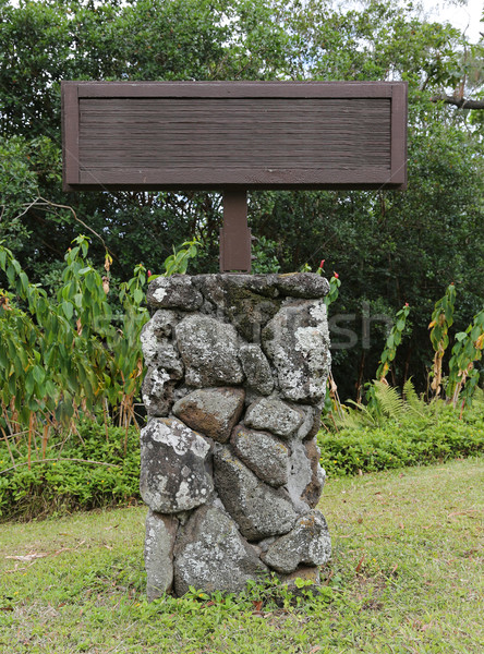 blank wooden sign on lava rock stand Stock photo © 808isgreat