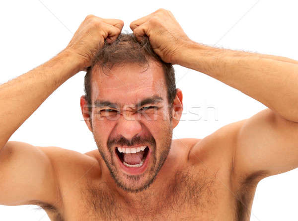 man pulling his hair and yelling on white background Stock photo © 808isgreat