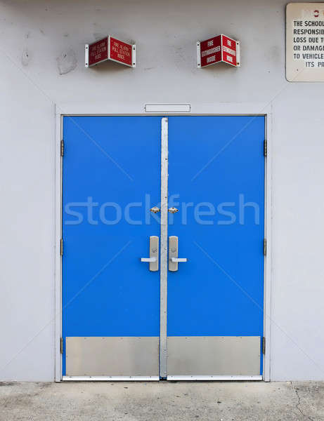 old style school door with fire alarm above Stock photo © 808isgreat