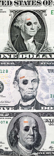 US currency with black eyes and band aid Stock photo © 808isgreat