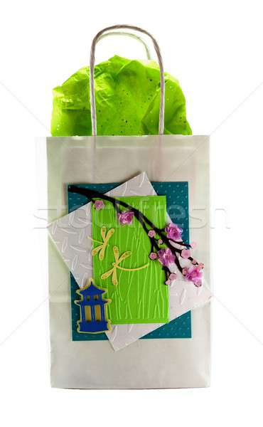 Hand made gift bag isolated on a white background Stock photo © 808isgreat
