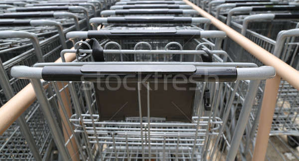 metal shopping carts in a row Stock photo © 808isgreat