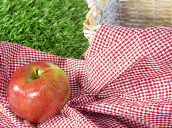 Red apple in a picnic scene Stock photo © 808isgreat