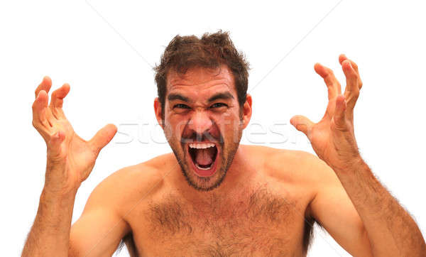man yelling with hands in air on a white background Stock photo © 808isgreat