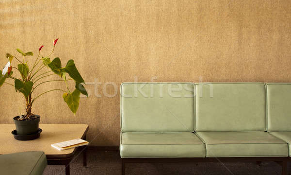 Room with chairs with potted plant and a book Stock photo © 808isgreat