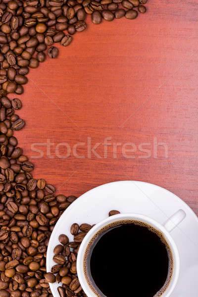Cup of coffee and spilled grain Stock photo © a2bb5s