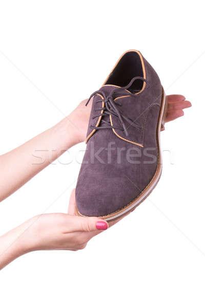 Ayakkabı erkekler el kadın adam Stok fotoğraf © a2bb5s