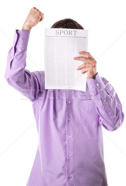 Stock photo: Man reading a newspaper with inscription SPORT