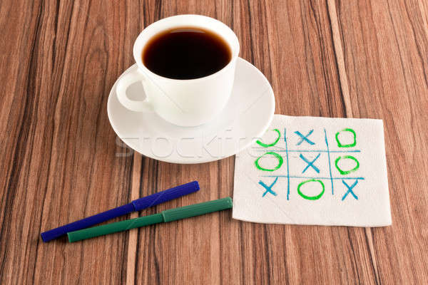 Tick-tack-toe on a napkin Stock photo © a2bb5s