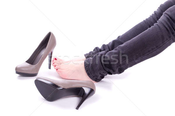 Woman relaxing near her shoes Stock photo © a2bb5s