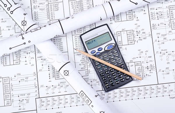 Blueprint crosswise and calculator Stock photo © a2bb5s