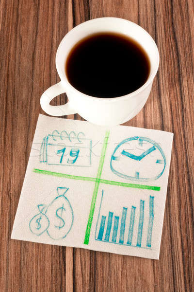 Stock photo: Financial sign on a napkin