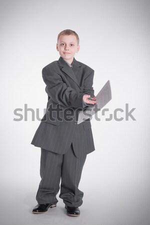 Menino papel grande jaqueta negócio criança Foto stock © a2bb5s