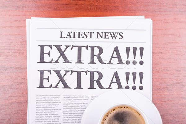 Foto stock: Jornal · extra · café · notícia · manchete · escritório