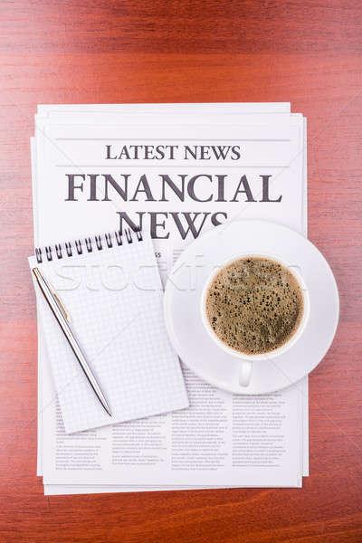 Stok fotoğraf: Gazete · finansal · haber · kahve · başlık · kâğıt