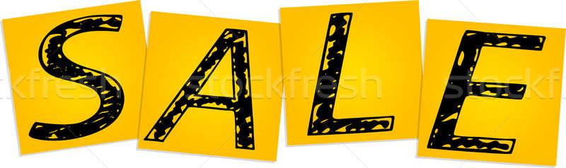 Vente jaune carré autocollants affaires Photo stock © a2bb5s