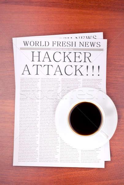 Krant hacker aanval beker koffie top Stockfoto © a2bb5s