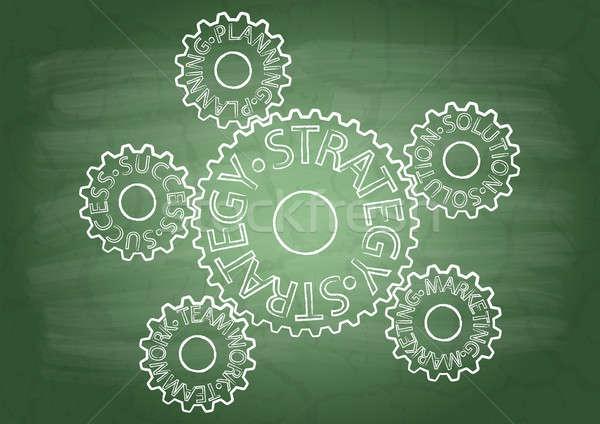 Foto stock: Estratégia · engrenagens · escolas · lousa · tecnologia · verde