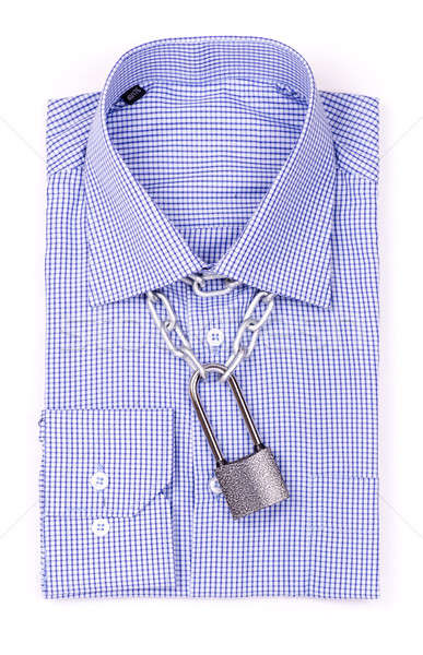 Blue shirt with a padlock and chain Stock photo © a2bb5s