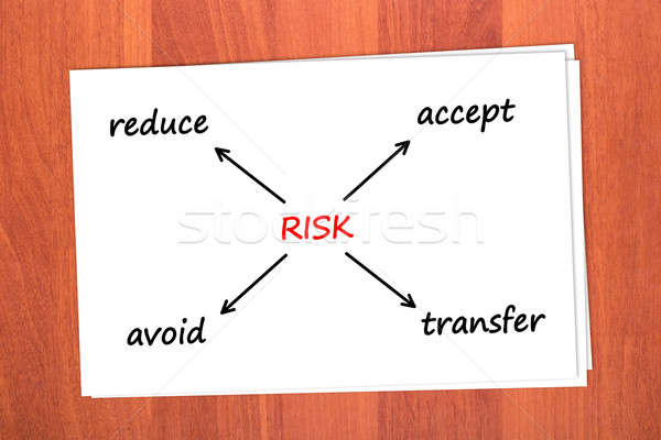 Ação risco tabela madeira assinar grupo Foto stock © a2bb5s