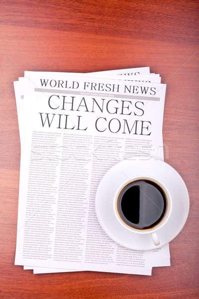 Gazete fincan kahve üst görmek Stok fotoğraf © a2bb5s