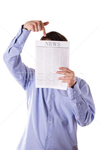 Adam okuma gazete haber yüz Stok fotoğraf © a2bb5s