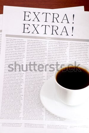 Foto stock: Jornal · copo · café · notícia · negócio