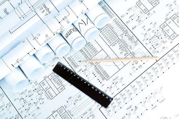 Blueprint & pencil  Stock photo © a2bb5s