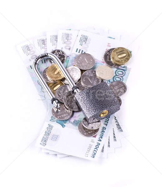 Foto stock: Cadeado · moedas · notas · isolado · negócio · dinheiro