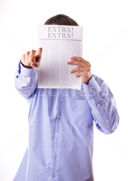 Man lezing krant opschrift extra gezicht Stockfoto © a2bb5s