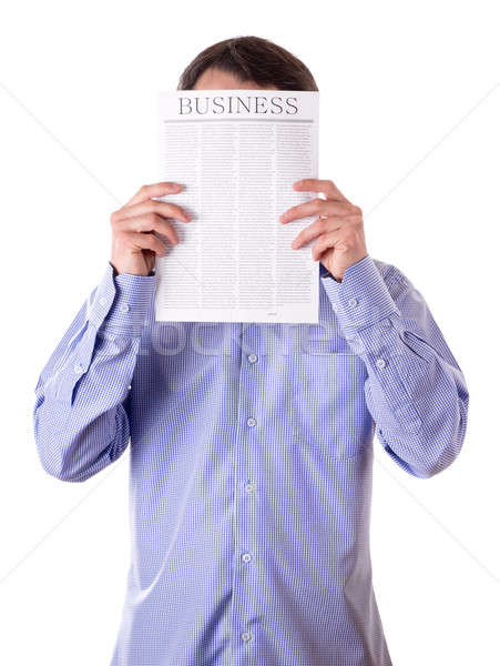 Homem leitura jornal negócio cara Foto stock © a2bb5s