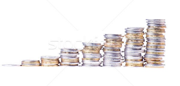 Stock photo: Growing stack of coins