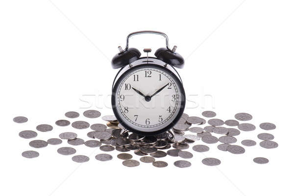Alarm clock on a pile of coins isolated Stock photo © a2bb5s