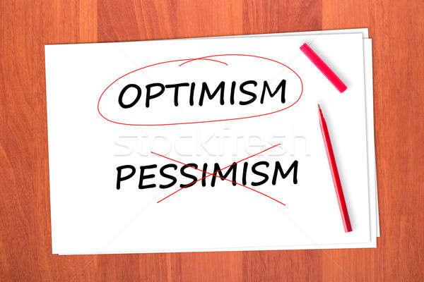 Optimisme woord uit papier ontwerp kruis Stockfoto © a2bb5s