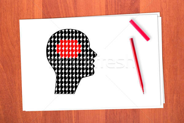 çizim kafa küçük kâğıt ahşap imzalamak Stok fotoğraf © a2bb5s