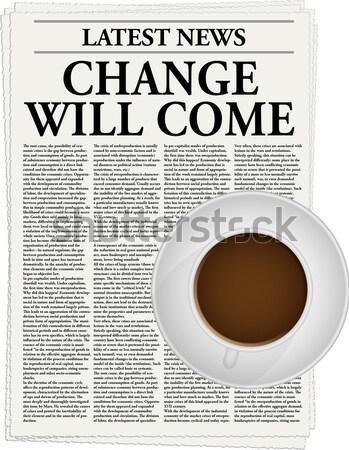 Foto stock: Negócio · jornal · copo · café · mouse · vários
