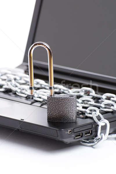 Foto stock: Abrir · laptop · segurança · cadeia · cadeado · isolado