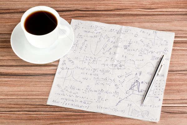 Matematiksel peçete fincan kahve ahşap kalem Stok fotoğraf © a2bb5s