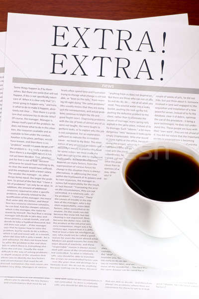Newspaper EXTRA and a cup of coffee Stock photo © a2bb5s