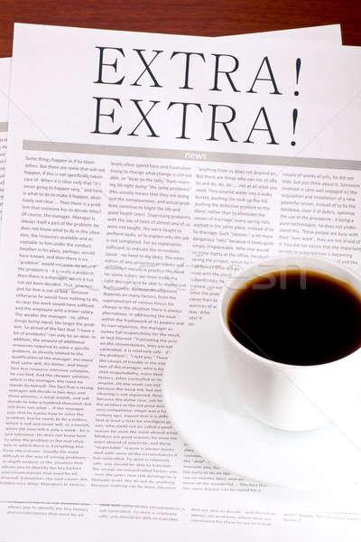 Foto stock: Jornal · extra · copo · café · vários · jornal