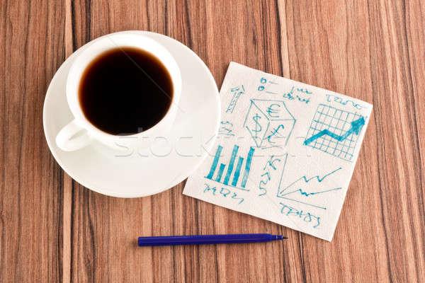 Finansal grafikler peçete fincan kahve kalem Stok fotoğraf © a2bb5s