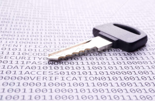 Stock photo: Key is on the list with a binary code