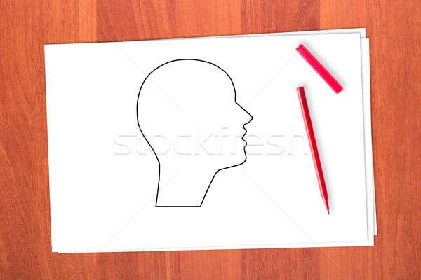 Dessin tête table papier bois signe Photo stock © a2bb5s
