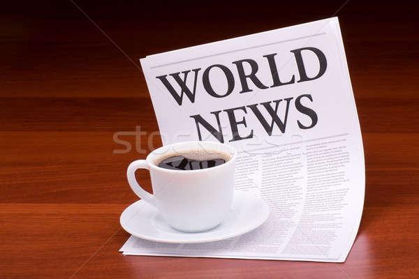 Stok fotoğraf: Gazete · haber · başlık · dünya · tablo · ofis