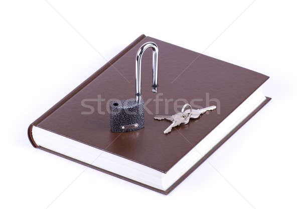 Brown book, key and open padlock Stock photo © a2bb5s