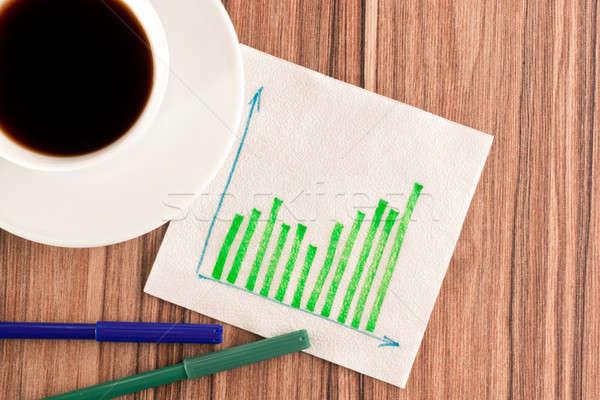 Yeşil grafikler peçete fincan kahve ahşap Stok fotoğraf © a2bb5s