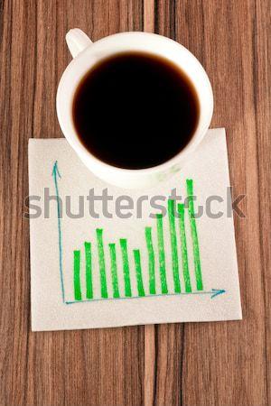 Signe parler serviette tasse café bois Photo stock © a2bb5s